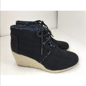 Toms Espadrille Wedge Booties Size 8 Black Canvas